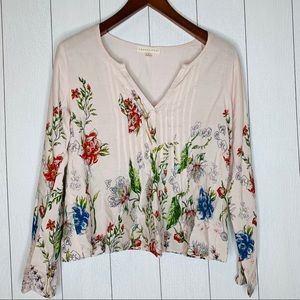 Lovestitch Floral L Blouse Pleated V-Neck Top